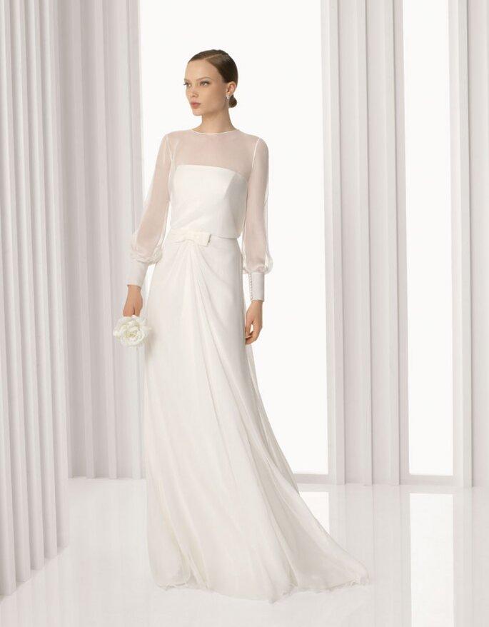 Vestido de novia Audrey en gasa y seda, Rosa Clará