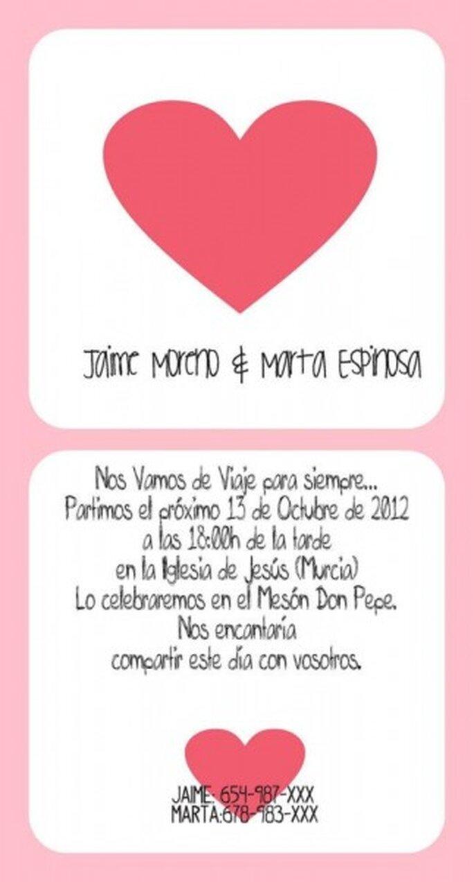 Invitación de boda diseñada por María para @SinRemedio