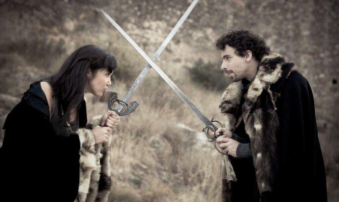 """Jugando a ser los protagonistas de la serie """"Games of Thrones"""" Foto: Fandi"""