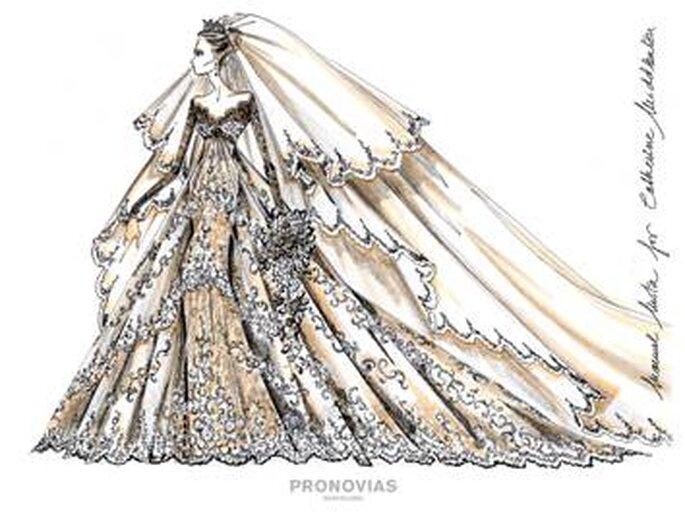 Propuesta 3 para Kate Middleton, diseñado por Manuel Mota para Pronovias