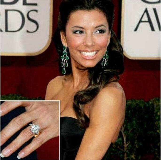 """Anello di fidanzamento della """"Desperate Housewife"""" Eva Longoria. Foto www.nozzeclick.com"""