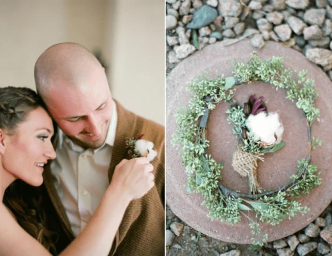 10 coloridos y originales boutonnieres para inspirar tu boda. Fotografía  Alea Lovely