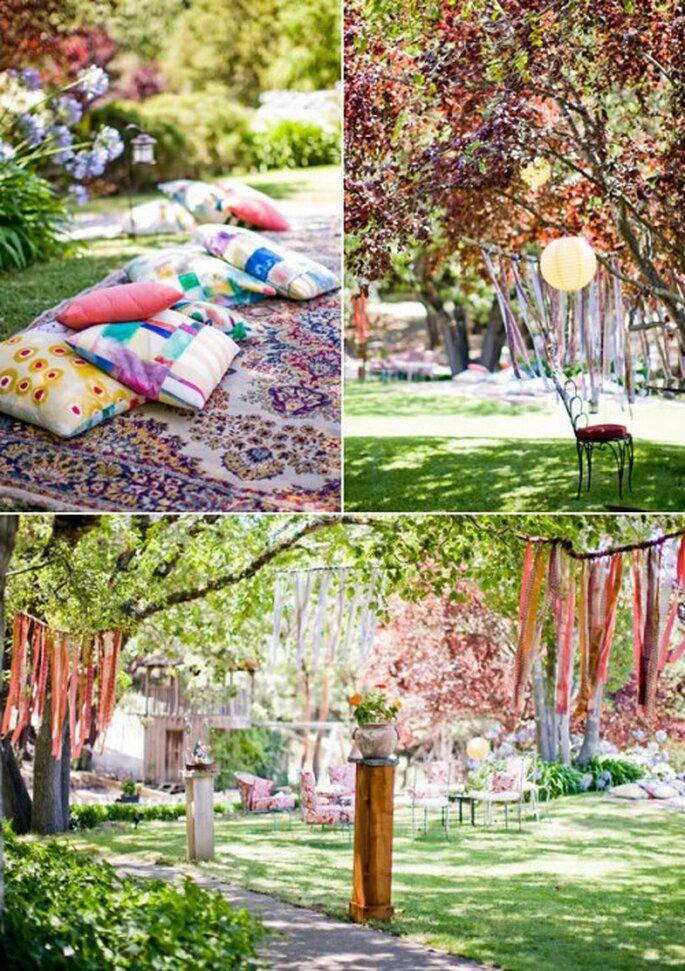 Decoración al aire libre para una boda bohemia - Foto Nancy Neil en Snippetandink