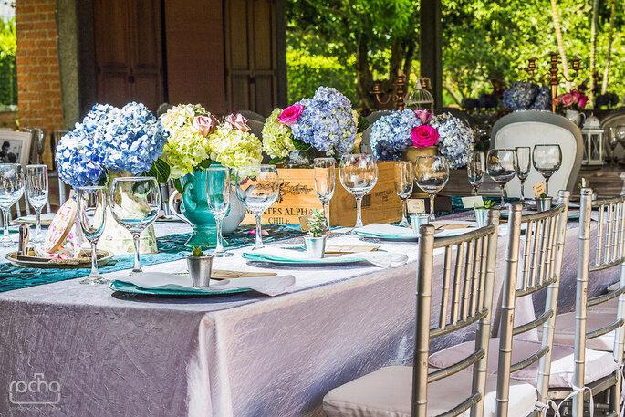 Decoración de mesas para boda estilo vintage. Fotografía: Rocha Fotografía – Decoración: Casa Grimaldi