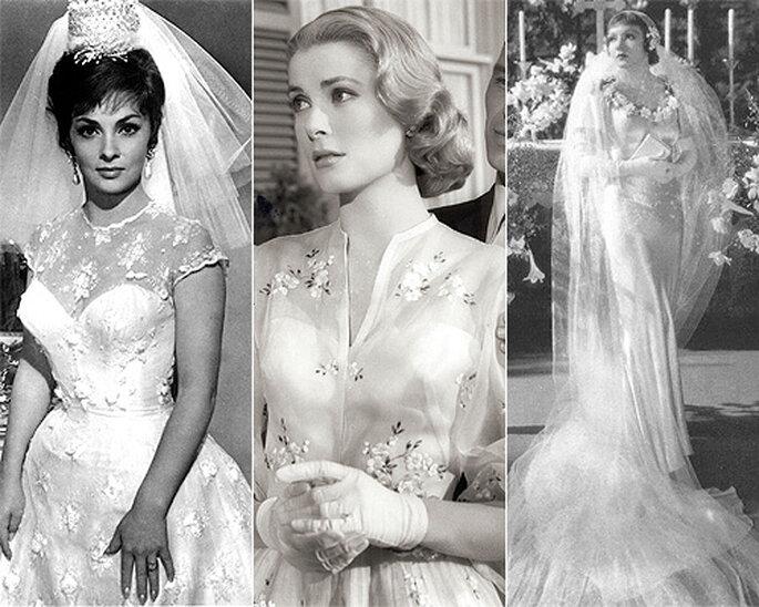 Gina Lollobrigida, Grace Kelly y Claudette Colbert vestidas de novia