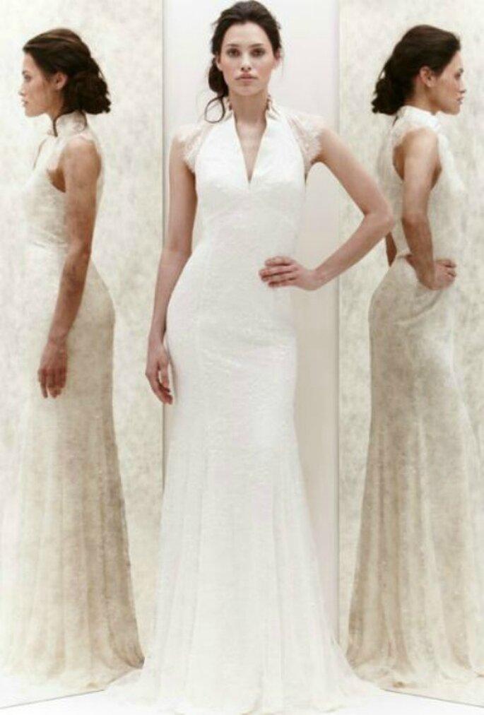 Vestido en crepé de seda con varias capas de encaje. Jenny Packham - Primevera 2013. Foto: New York Bridal Week