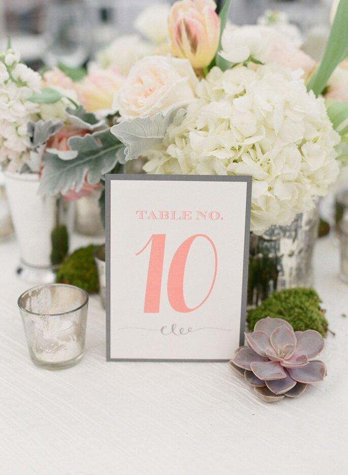 Indicadores de mesa para el banquete de bodas - Foto Melissa Schollaert Photography