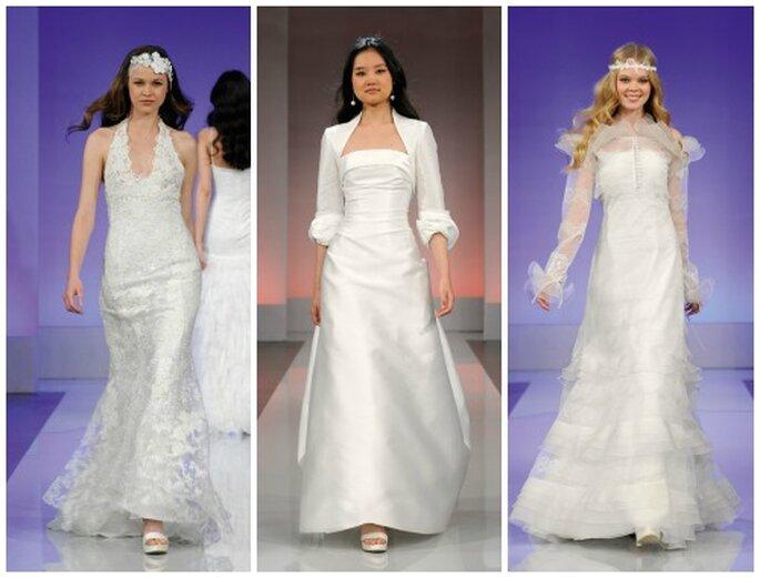 El estilo minimalista del vestido central contrasta con el estilo hippie de los otros diseños. Fotos: www.cymbelline.com