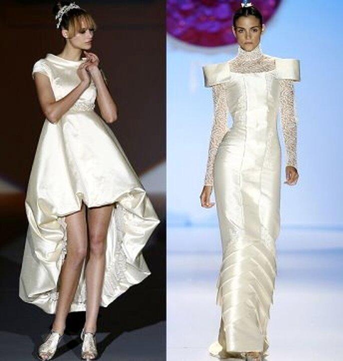 Vestidos de novia abullonados, de líneas rectas: muy nipones