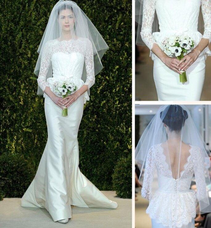 Vestido de novia 2014 con mangas largas confeccionadas con encaje, silueta peplum y cauda larga - Carolina Herrera