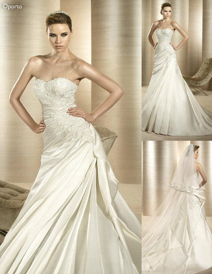Vestido de novia glamouroso con falda lisa - Foto: Atelier Diagonal
