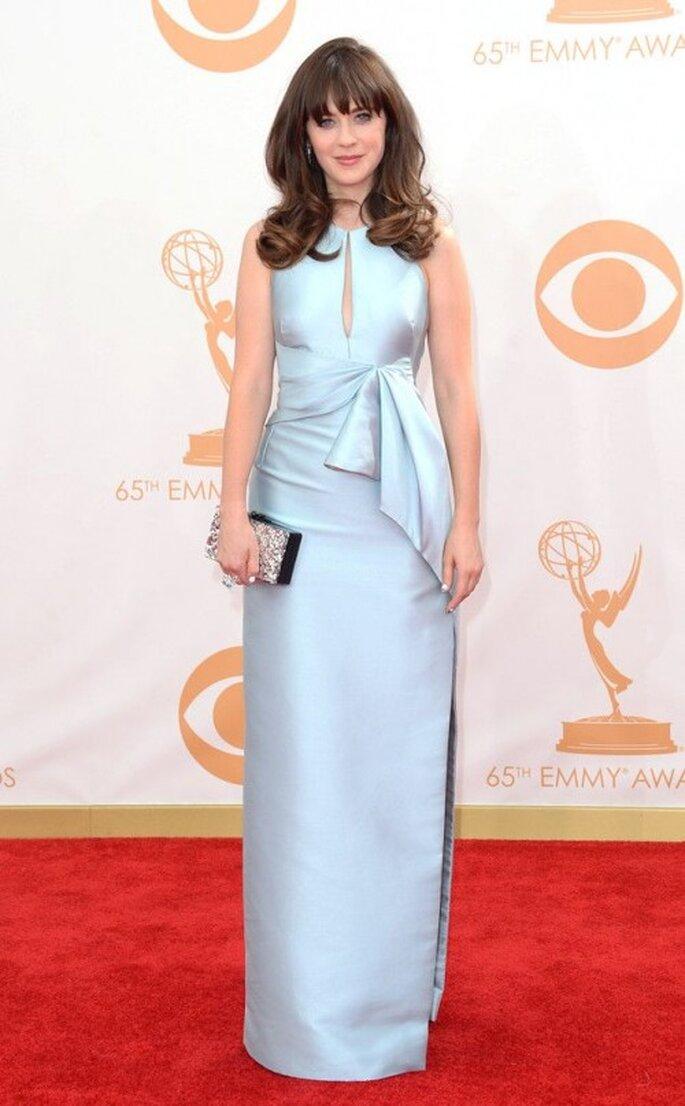Zooey Deschanel luce un vestido J.Mendel en los Emmy 2013 - Foto E! Online Pinterest