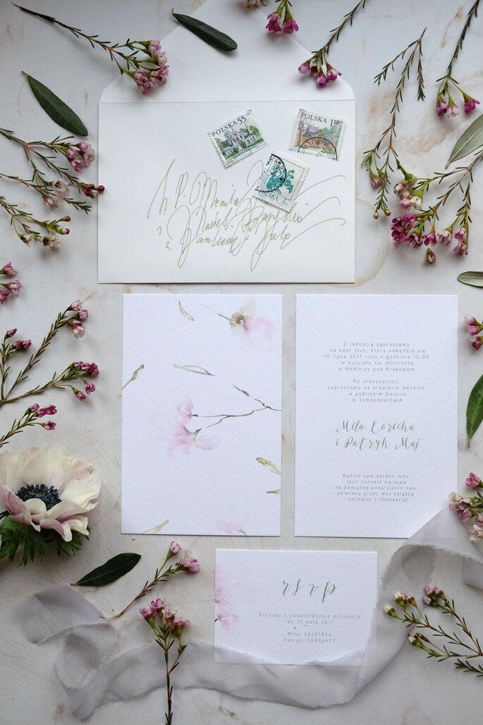 zaproszenie subtelne kwiaty Love Prints
