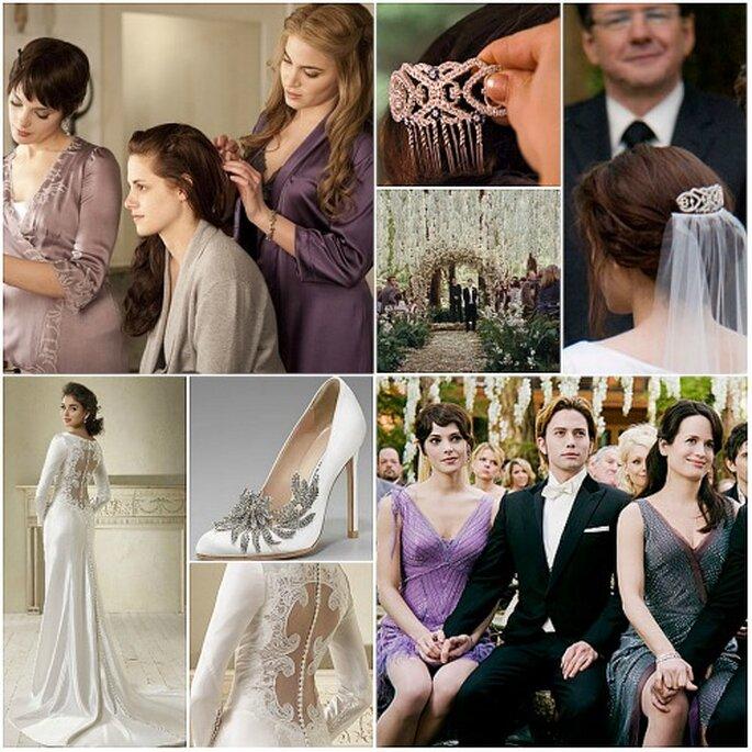 Bella Swan vestida de noiva, com um vestido de Carolina Herrera e sapatos de Manolo Blahnik