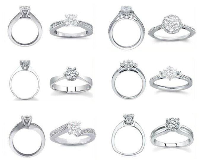 Anillos de compromisos con diamantes incrustados en la argolla - Foto: Varré Joyeros