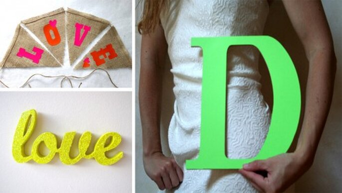 Letras en tonos neon para decorar una boda - Foto paperklipdesign, SugarOwlDesign y Ogelbird