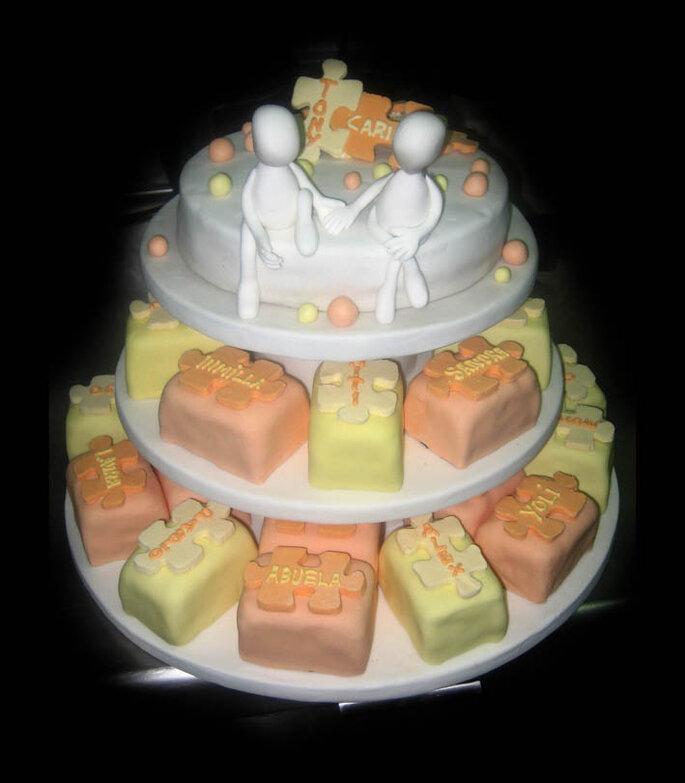 Un pastel de bodas al estilo puzzle