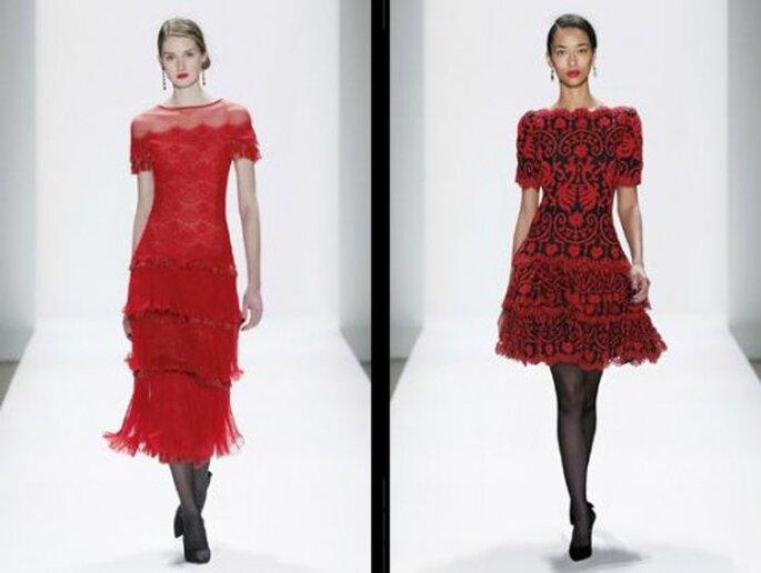 Rosso rubino e un mix di rosso e nero, tra il gitano e l'azteco, per questi due modelli. Foto: Tadashi Shoji