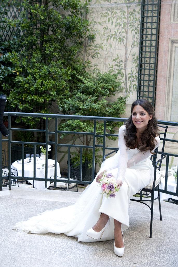Paula con vestido de Lorenzo Caprile. Foto Click10