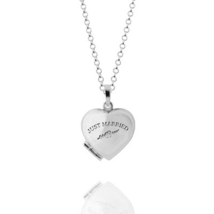 """Halskette mit Anhänger in Herzform """"Just Married"""" von Pearlfection"""