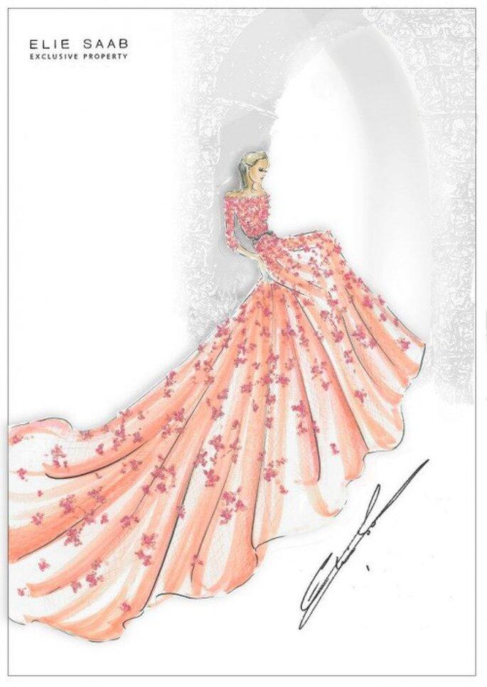 Boceto del vestido de novia en color rosa inspirado en La bella durmiente - Foto Elie Saab