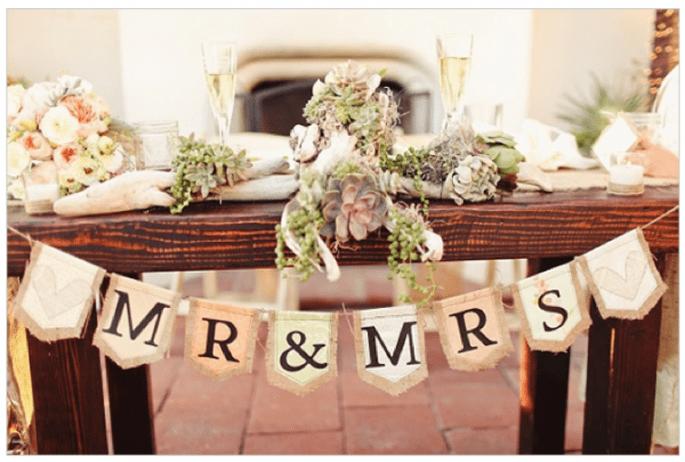 Decoración de boda con elegantes suculentas - Foto Matthew Morgan Photography