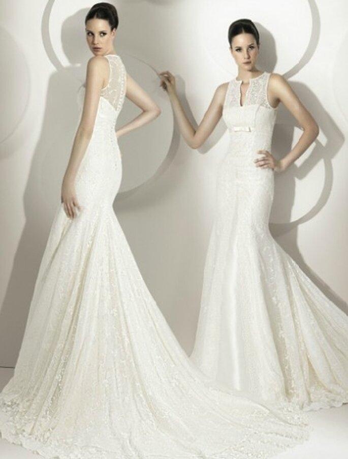 Vestido de novia 2012, corte sirena ceñido al cuerpo con cauda de encaje, escote caja con encaje chantilly. By Franc Sarabia