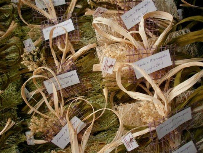 Bomboniere realizzate completamente con elementi naturali. Foto www.ecofattoart.com