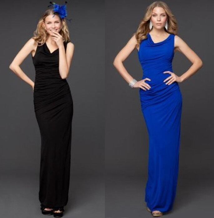 Vestidos largos para dama de boda en color negro y azul rey - Foto: Colección Rami Kashou para Bebe