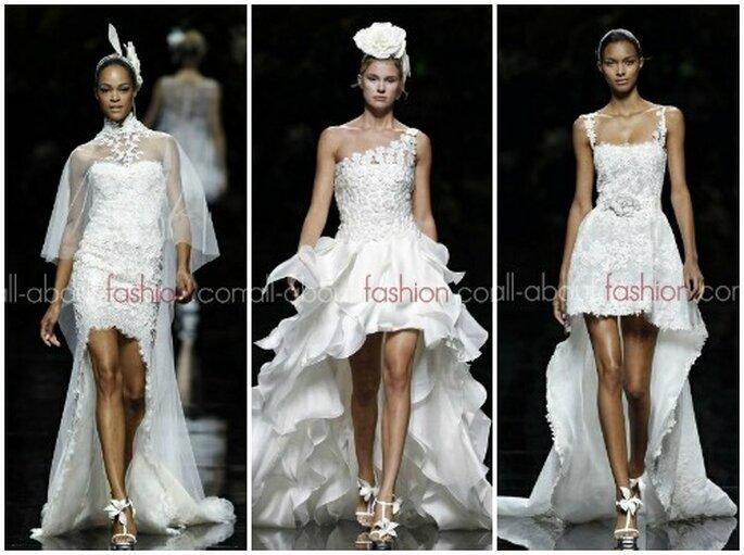 Jambes dévoilées avec ces robes de mariée courtes de la collection 2013 Manuel Mota pour Pronovias - Photo www.all-about-fashion.com