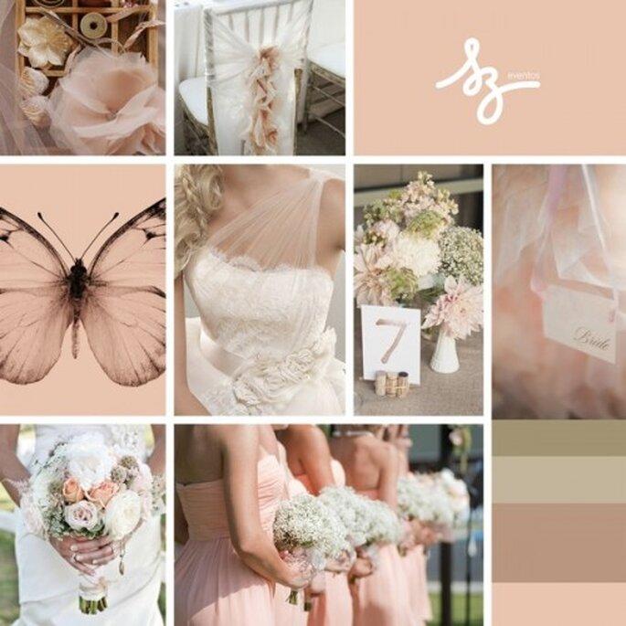 Collage para una decoración de boda inspirada en las mariposas - foto weddingchicks.com, lover.ly, weddbook.com. Diseño de Raiza Eventos