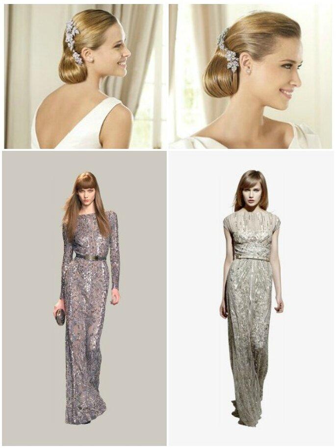 Accesorios para el cabello en cristal  Swarovsky, de Pronovias, dos vestidos efecto glitter de colecção Elie Saab Prêt-à- Porter.