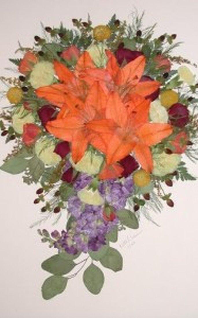 Conservar tu ramo de novia en un cuadro
