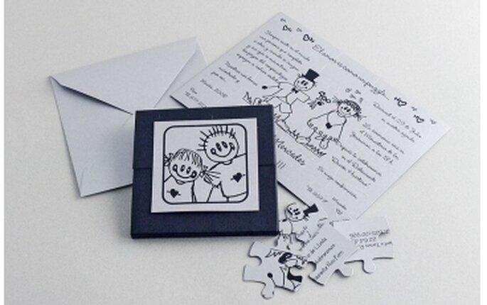 Invitación de boda tipo puzzle