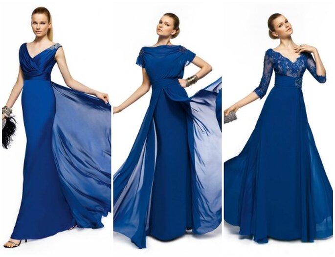 Il bluette è uno dei colori più eleganti. Perfetto per le mamme degli sposi. Pronovias Fiesta 2013. Foto www.pronovias.it