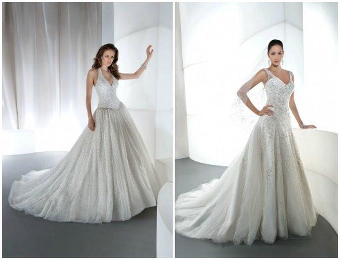 Dos propuestas con una casacada de cristales. Fotos: www.demetriosbridal.com