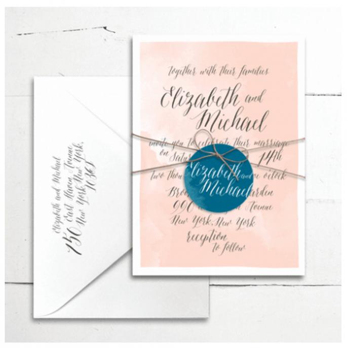 Invitaciones de boda con estilo contemporáneo - Foto Smitten On Paper