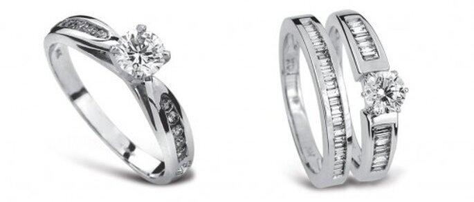 Anillos de compromiso de oro blanco incrustado de diamantes - Foto Guvier joyería y relojería