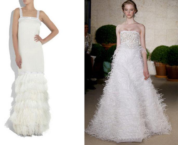 Robes de mariée à plumes Lanvin et Oscar de la Renta