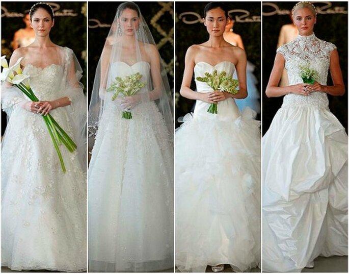 Las novias de Oscar de la Renta 2013 a menudo portan un ramo a juego con el vestido. Foto: Dan Lecca