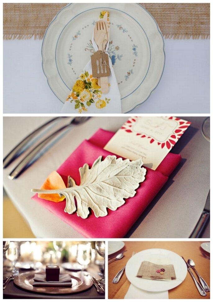 El servicio de la mesa de boda con detalles decorativos