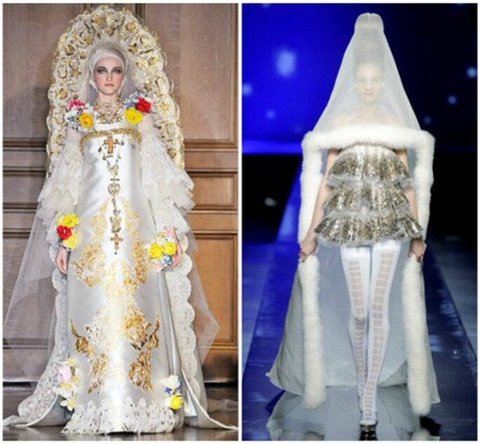 Lacroix y Gaultier son los creadores de estos extravagantes vestidos de novia