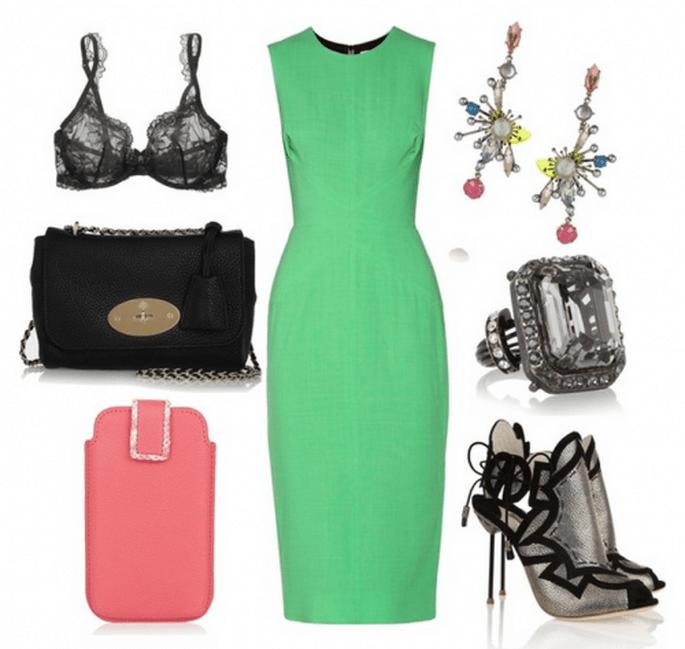 Cómo combinar un vestido de fiesta verde - Fotos: vestidos de Roksanda Ilincic, zapatos de Sophia Webster, anillo de Lanvin, aretes de Erickson Beamon, funda de  Smythson, bra de La Perla y bolsa de Mulberry - Collage hecho en clothia