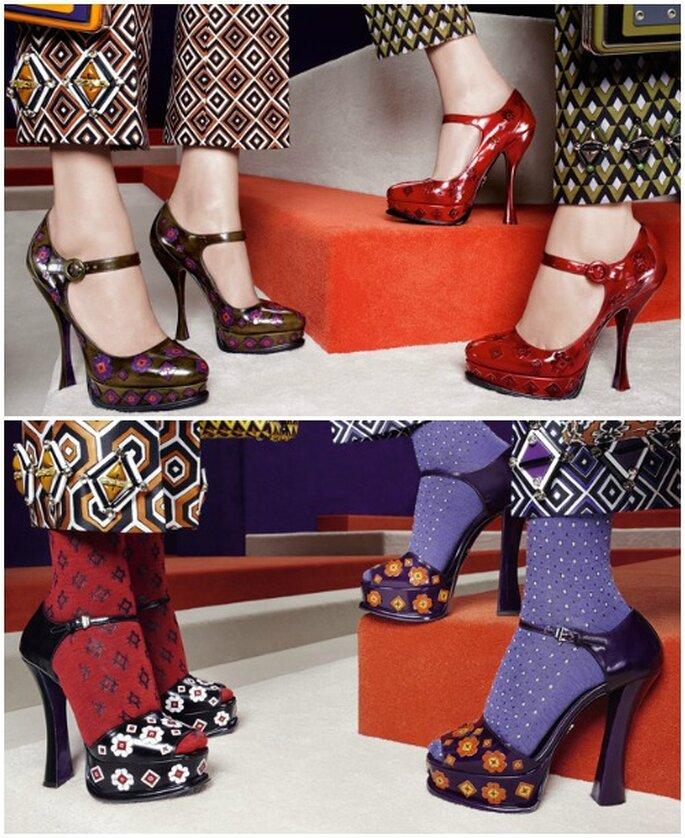 Motifs géométriques et floraux sur la collection de chaussures Prada A/H 2012-13. Photo www.prada.com
