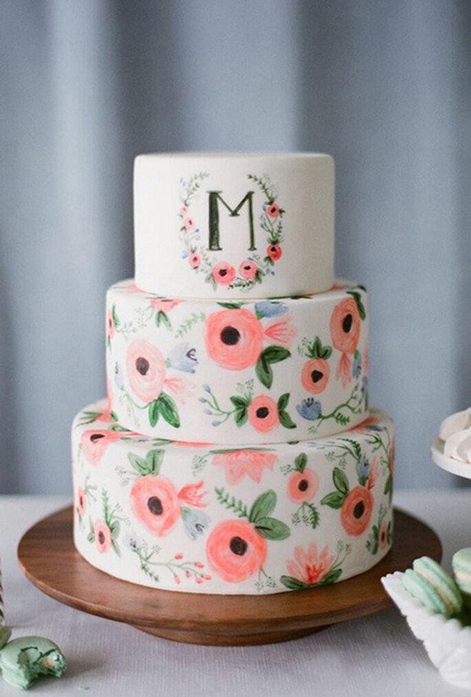 Pasteles de boda pintados a mano - Katie Parra Photography