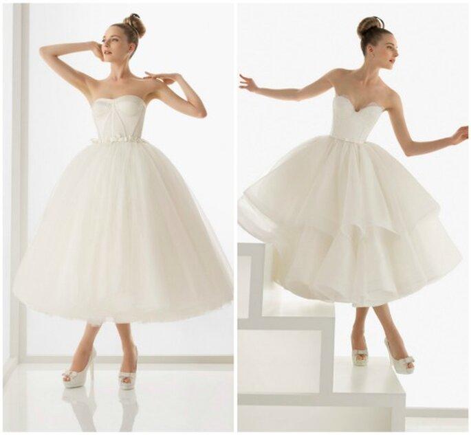Dos vestidos de novia de estilo bailarina al tobillo. Foto Rosa Clará