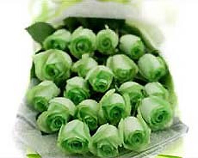 Ramo de rosas verdes, un original tono