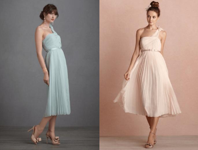 Vestidos cortos en colores pastel y nude para damas de boda - Foto BHLDN