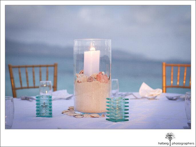 Decoración para una boda en la playa. Foto: Tim Halberg