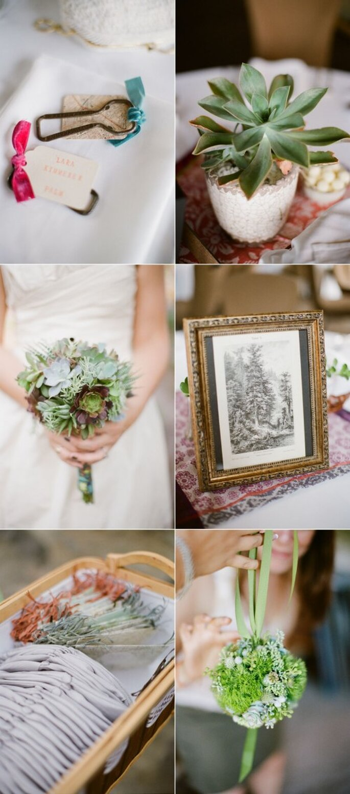 Ramo de novia con plantas Lechugosas